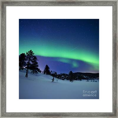 Aurora Borealis And A Shooting Star Framed Print by Arild Heitmann