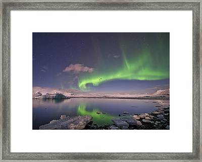 Aurora Borealis And Reflection #2 Framed Print