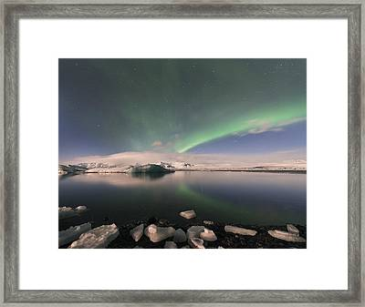 Framed Print featuring the photograph Aurora Borealis And Reflection by Wanda Krack