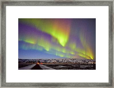Aurora Borealis At Solheimasandur Framed Print