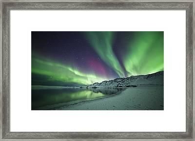 Aurora Borealis In Iceland Framed Print by Arnar B Gudjonsson