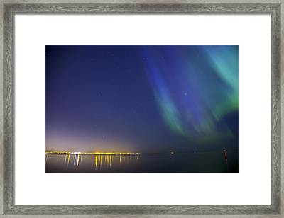 Aurora Borealis Northern Lights Over City Of Tallinn North Europe Framed Print