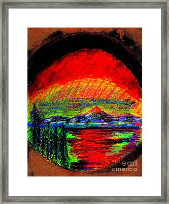 Framed Print featuring the painting Aurora Borealis Northern Lights by Richard W Linford