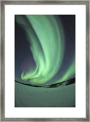 Aurora Borealis Over Prosperous Lake Framed Print by Jiri Hermann