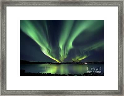 Aurora Borealis Over Tjeldsundet Framed Print by Arild Heitmann