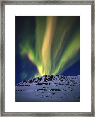 Aurora Borealis Over Toviktinden Framed Print by Arild Heitmann