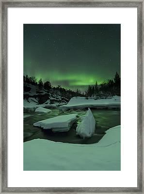 Aurora Borealis, Tennevik River, Troms Framed Print by Arild Heitmann