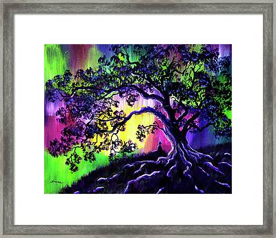 Aurora Borealis Tree Of Life Meditation Framed Print by Laura Iverson