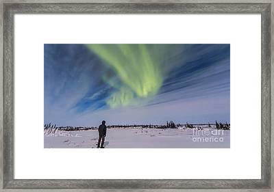 Aurora Borealis Under Bright Moonlight Framed Print