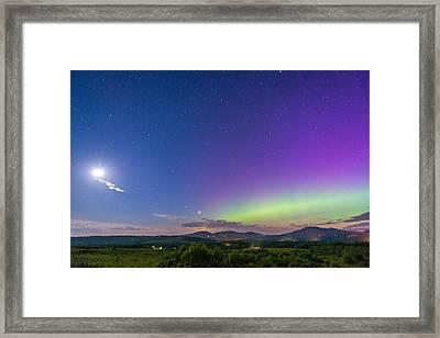 Aurora Moon Jupiter And Venus Framed Print by Tim Sullivan