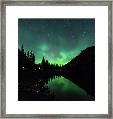 Aurora On Moraine Lake Framed Print