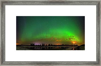 Aurora Over Pond Panorama Framed Print