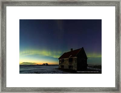 Aurora Over Sunset. Framed Print by Kjartan Gudmundur Juliusson