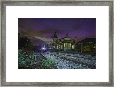 Aurora Over The Crawford Notch Depot Framed Print