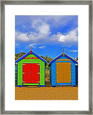Aussie Beach Boxes Framed Print by Dennis Cox WorldViews