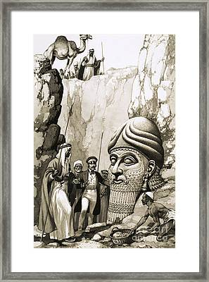 Austen Layard And The Statue Of Nimrud Framed Print