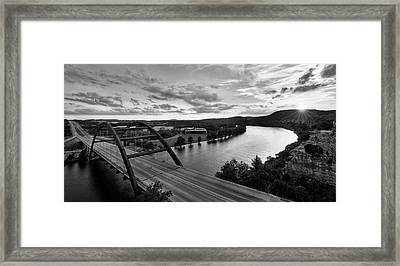 Framed Print featuring the photograph Austin 360 Pennybacker Bridge Sunset by Todd Aaron