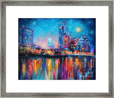 Austin Art Impressionistic Skyline Painting #2 Framed Print by Svetlana Novikova