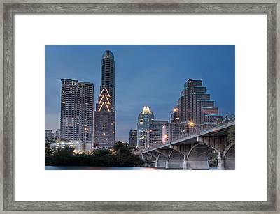 Austin At Dusk - Congress Street Bridge In Hdr Framed Print by David Thompson