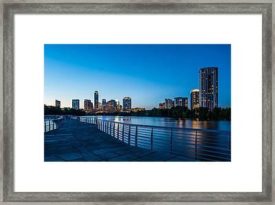 Austin Boardwalk Skyline Night Framed Print