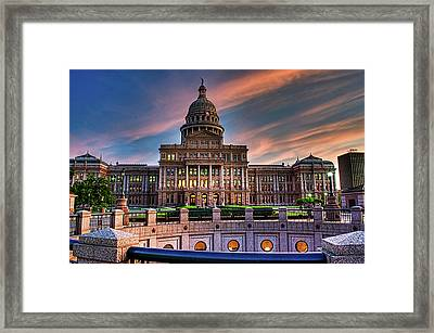 Framed Print featuring the photograph Austin Capitol by John Maffei