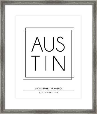 Austin City Print With Coordinates Framed Print