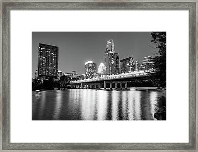 Framed Print featuring the photograph Austin City Skyline And Congress Bridge In Black And White by Gregory Ballos