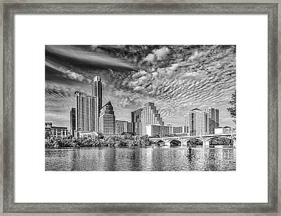 Austin Cityscape In Black And White Framed Print by Tod and Cynthia Grubbs
