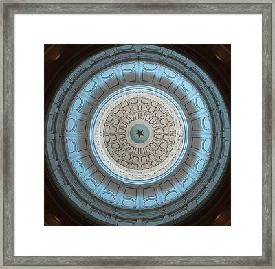 Austin Capitol Dome In Gray And Blue Framed Print