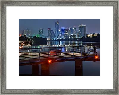 Austin From Lady Bird Lake Walkway Framed Print by Frozen in Time Fine Art Photography