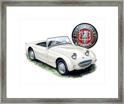 Austin Healey Bug Eye White Framed Print by David Kyte