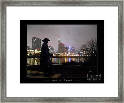 Austin Hike And Bike Trail - Iconic Austin Statue Stevie Ray Vaughn - One Greeting Card Poster Framed Print by Felipe Adan Lerma