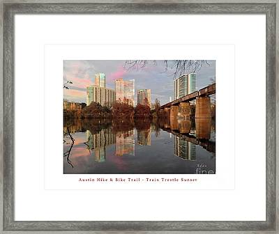 Austin Hike And Bike Trail - Train Trestle 1 Sunset Left Greeting Card Poster - Over Lady Bird Lake Framed Print by Felipe Adan Lerma