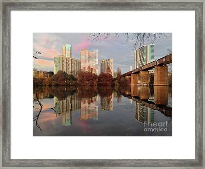 Austin Hike And Bike Trail - Train Trestle 1 Sunset Triptych Left Framed Print by Felipe Adan Lerma
