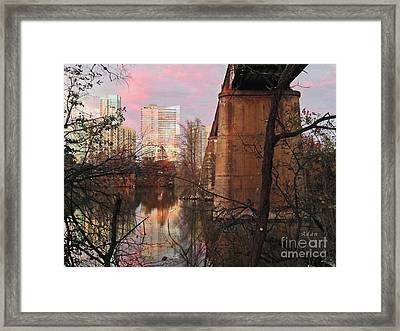 Austin Hike And Bike Trail - Train Trestle 1 Sunset Triptych Middle Framed Print by Felipe Adan Lerma