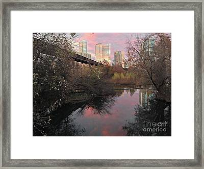 Austin Hike And Bike Trail - Train Trestle 1 Sunset Triptych Right Framed Print by Felipe Adan Lerma