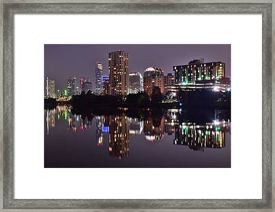 Austin Lights Up Lady Bird Lake Framed Print