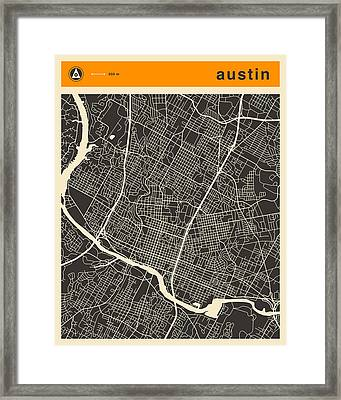 Austin Map Framed Print by Jazzberry Blue