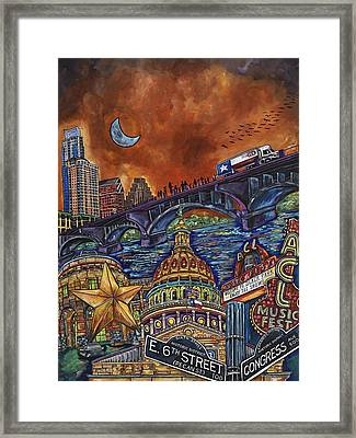 Framed Print featuring the painting Austin Montage by Patti Schermerhorn