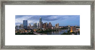 Austin Night Cityscape From Above  Framed Print by Tod and Cynthia Grubbs