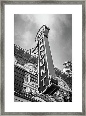 Austin Paramount Theatre Sign Black And White Photo Framed Print by Paul Velgos