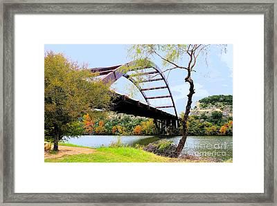 Austin Pennybacker Bridge In Autumn Framed Print by Janette Boyd