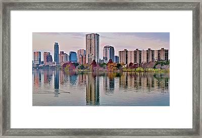 Austin River Walk Sunset Framed Print