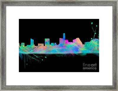 Austin Skyine Watercolor With Black Bg Framed Print by Tod and Cynthia Grubbs