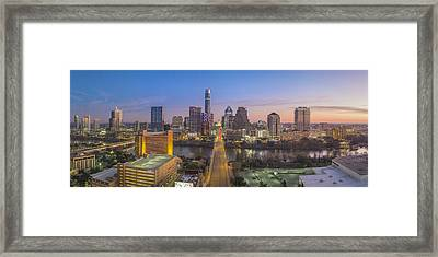 Austin Skyline Aerial View Pano From Congress 1 Framed Print by Rob Greebon