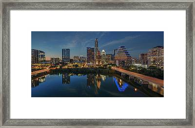 Austin Skyline At Night 7-4 Framed Print by Rob Greebon