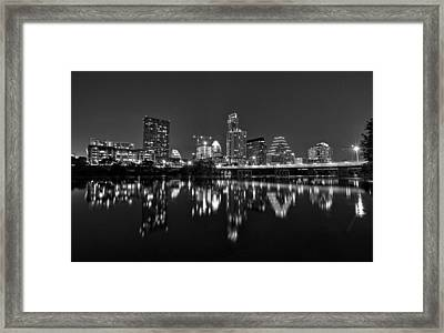 Framed Print featuring the photograph Austin Skyline At Night Black And White by Todd Aaron