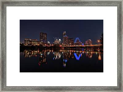 Framed Print featuring the photograph Austin Skyline At Night by Todd Aaron