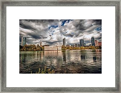 Framed Print featuring the photograph Austin Skyline On Lady Bird Lake by John Maffei