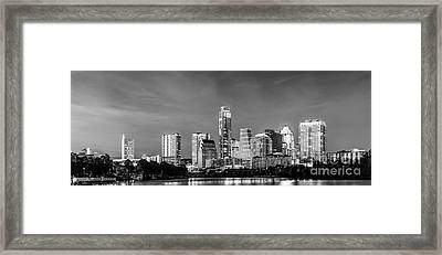 Austin Skyline Pano In Black And White Framed Print by Tod and Cynthia Grubbs